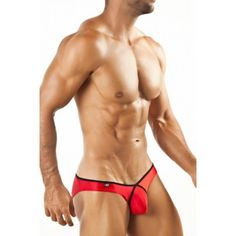 (Joe Snyder Pride Frame Bikini Red) When in doubt walk it out, in red. This color is a perfect 'go to' color when you want that sultry look. Combining a crisscross piping detail around the pouch and the rich red color, you will grab so much attention. Joe Snyder is the way to go when you need that 'go getem' underwear.