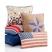 Martha Stewart Collection Bedding, Americana Stars and Stipes Pillows