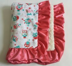 Pink and White - Woodland Aubree Owl – Luxury Baby Blankets - #shopsmall Discounts Available @: http://eepurl.com/bySrH9