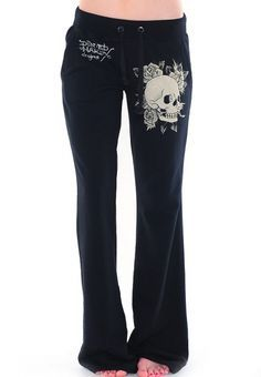 Skull & Roses Rhinestone Drawstring Pants