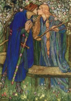 Blessed Kiss, illustration to The Defence of Guenevere by William Morris