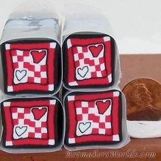 Double Heart polymer clay cane | ArtmakersWorlds - Handmade Supplies on ArtFire