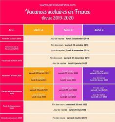 Vacances scolaires france 2019 et 2020