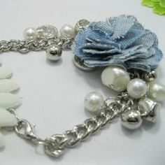 Fabric Pearl Metal Chain Bracelet Korean Stylish Fresh Girl Jewelry Bracelets Wholesale Supplier Usa