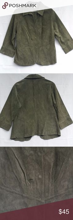 """Coldwater Creek Jacket M Womens Suede Leather Coldwater Creek Size Medium Olive Green Suede Leather Blazer Jacket Coat Women's 100% leather Snap front Unlined Gently used   Approx bust 41"""" and length from top of shoulder 24"""" Coldwater Creek Jackets & Coats Blazers"""