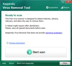 Kaspersky Virus Removal Tool 15.0.19.0 Kaspersky Virus Removal Tool is a utility designed to remove all types of threats from computers. Kaspersky Virus Removal Tool uses the effective detection algorithms realized in Kaspersky Anti-Virus and AVZ. #computers #software #freeware