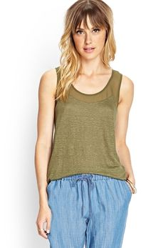 Linen & Chiffon Trimmed Tank from FOREVER 21 on Catalog Spree