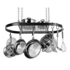 Pot Rack Oval Black Enamel, Works great over the stovetop, sink or an island. This attractive black enamel coated metal pot rack hangs from the ceiling with an upper shelf and repositionable hooks to stylishly maximize your space. As seen in designer home magazines Hanging pots and utensils are better organized and easier to access no more digging through the back of your cupboard. Just think of how useful all of that extra cupboard space will be
