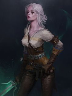 Witcher fan art  ciri by totorrl female rogue thief assassin ranger sword leather armor clothes clothing fashion player character npc | Create your own roleplaying game material w/ RPG Bard: www.rpgbard.com | Writing inspiration for Dungeons and Dragons DND D&D Pathfinder PFRPG Warhammer 40k Star Wars Shadowrun Call of Cthulhu Lord of the Rings LoTR + d20 fantasy science fiction scifi horror design | Not Trusty Sword art: click artwork for source