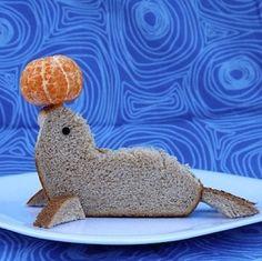 Foca sandiwich vertical divertida comida para niños infantil lindo funny food for kids Sandwich Upgrade: The Seal Cute