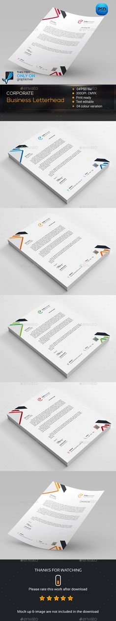 Buy Corporate Business Letterhead by zeropixels on GraphicRiver. FEATURES: Easy Customizable and Editable Business Letterhead in with bleed CMYK Color Design in 300 DPI Reso. Letterhead Template, Corporate Business, Stationery Design, Templates, Marketing, Stencils, Stationary Design, Vorlage, Models