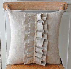 Linen ruffle pillow