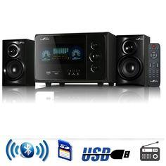 beFree Sound 2.1 Channel Surround Sound Bluetooth Speaker System in Black