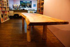Großer Esstisch aus einem Stamm Ulme in voller Größe mit zwei Verlängerungen