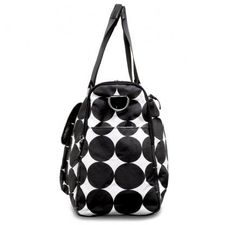 "OOYOO diaper bag ""Labor of Love"" black dot large duffel - side view"