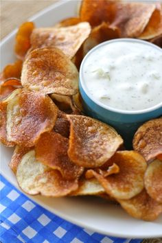 Homemade kettle chips with onion dill dip. http://www.laurenslatest.com/homemade-kettle-chips-with-onion-dill-dip-potato-chips/