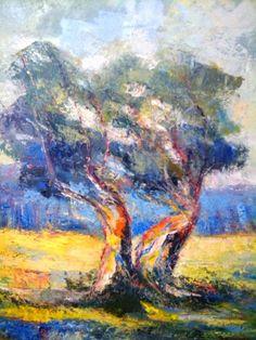 P.JANNACOS   ART.  pittore contemporaneo  del mediterraneo: ulivo del mediterraneo  ..olio su tela