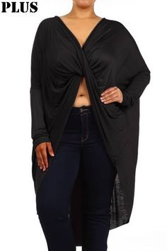 The Plus Size Luxe Draped Blouse in Black, perfect promo for those mavens who love a soft statement. http://bit.ly/1IIdFEq