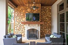 A DREAMY PATIO WOOD DISC WALL, wood slices, tree slice wall