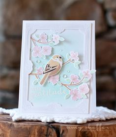 Pickled Paper Designs: PTI Spring Woods and Cover Plate: Pretty Frame Origami, Ppr, Beautiful Handmade Cards, Bird Cards, Card Tags, Card Kit, Shaker Cards, Pretty Cards, Flower Cards
