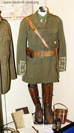 World War I British Uniform: known for its green color, belt for supplies, and boots- all quite similar to that of the American uniforms.