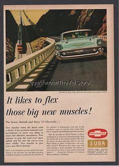 1957 Chevrolet Bel Air Coupe Chevy Corvette engine train Flex Big Muscles art Ad