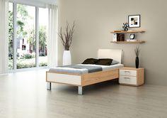 MY WAY Bettensystem: Einzelbett in Eiche Sierra Nachbildung mit Absetzung in Lack Creme. Besonderes Highlight das cremefarbene Kopfteil mit Plexiglasabsetzung