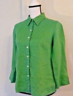 Talbots Women's Blouse Size 4 Button Green Linen Spring Fun Summer Picnic Date   Clothing, Shoes & Accessories, Women's Clothing, Tops & Blouses   eBay!