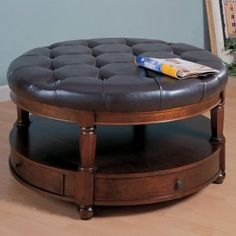 Coaster Tai Leather Coffee Table Storage Ottoman Ottomans At Stylehive Round
