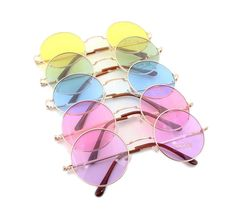 Круглые очки от солнца с тонкой металлической оправой и цветной линзой (в наличии салатовые, желтые, розовые, сиреневые и голубые) - 1