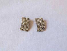 1950s Vintage  Vintage Earrings  Curved Diamante Earrings