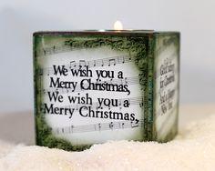 We Wish You Tea Light Wooden Block. $12.00, via Etsy.