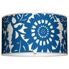 Blue and white printed drum.  www.seascapelamps.com