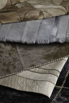 Edelman Leather patchwork cowhide rugs.