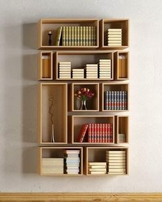 7 Reliable Cool Tips: Large Floating Shelf Decor floating shelves apartment bookshelves.Floating Shelves Ideas Shoe Storage how to build floating shelves subway tiles.How To Decorate Floating Shelves Office. Creative Bookshelves, Bookshelf Design, Bookshelf Ideas, Floating Bookshelves, Wall Bookshelves, Shelving Ideas, Modern Bookshelf, Wood Box Shelves, Homemade Bookshelves