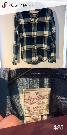 American Eagle blue heritage flannel Super soft & comfy! Men's XS, fits loose / oversized as a women's small or fits as a women medium. Lightly worn, feel free to make an offer! American Eagle Outfitters Shirts Casual Button Down Shirts