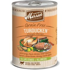 Merrick - Merrick Turducken Canned Dog Food. By locally sourcing all of our farm fresh ingredients, we ensure the highest quality for all of our recipes. Merrick purchases produce and real meat from American farmers and ranchers throughout all four seasons of the year. With fewer distributors, handlers and warehouses, our ingredients are fresher because they are immediately used.