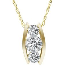 .55CT Three Stone 3 Diamond Pendant 14K Yellow Gold, Women's