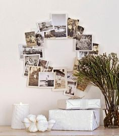 Love the sepia photo wreath... idea!     From Elte on Facebook
