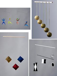WISH LIST!  Montessori mobiles - Start with the Munari (Bottom Right), then Octohedron (Bottom Left), then the Gobi in any gradation of color baby prefers (Top Right), and the Dancers (Top Left)