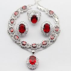 Huge Imitated Red Garnet Silver Color Jewelry Sets For Women Necklace Pendant Drop Earrings Rings Bracelet Merry Christmas Gift