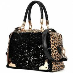 Womans Enviable Leopard Print Sequined Embellished Distinctive Satchel Bags $34.99