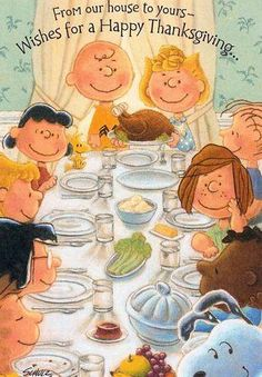 The Peanut gang takes nutrition to a whole new level this Thanksgiving. The menu? Non-GMO popcorn sprinkled with nutritional yeast, organic almond butter and pomegranate jelly sandwiches made with gluten-free bread,  jelly beans made with natural colorants and sweetenrs, and kombucha (instead of Kool-Aid). - Well Gal Blog.  #wellgalblog #thanksgiving #humor #Peanuts #nutrition #gmo #glutenfree #kombucha #nutritionalyeast