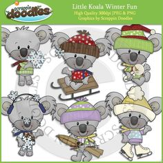 Little Koala Winter Fun Clip Art Download