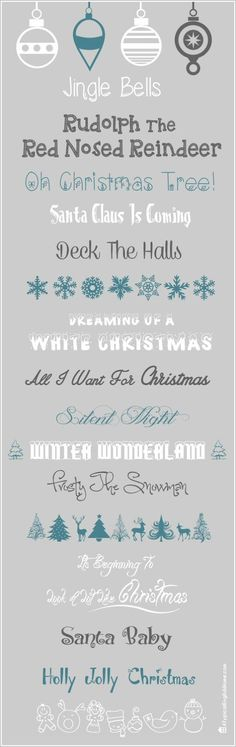 A Typical English Home: Christmas Fonts 2013 ~~ Free fonts w/ links} Fancy Fonts, Cool Fonts, Christmas Fonts, Christmas Design, Holiday Fonts, Christmas Christmas, Typographie Fonts, Silhouette Fonts, Silhouette Projects