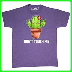 Inktastic - Cute Cactus Dont Touch Me White T-Shirt Medium Retro Heather Purple - Retro shirts (*Amazon Partner-Link)