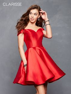 439306c22fe Clarisse Homecoming Fit and flare off shoulder sleeves dress with a corset  lace up back. A belt around the waist, and luxurious, smooth, satin fabric  wraps ...