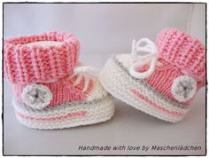 Baby Shoes Baby Shoes - Baby Sneakers from Maschenlädchen Knit Baby Shoes, Crochet Baby Boots, Knit Baby Booties, Baby Knitting Patterns, Baby Hats Knitting, Baby Patterns, Free Knitting, Crochet Patterns, Crochet Pullover Pattern
