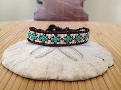 Beaded Leather Bracelet with Turquoise Bronze and by LoveGandJ, $27.00
