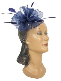 It's never fun to be blue, unless you're wearing this amazing navy Rhinestone Rosette Hairclip!
